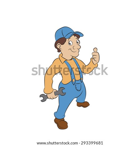 Image of funny cartoon smiling Fitter - stock photo