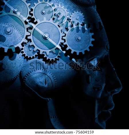 Image of gears inside of a man's head. - stock photo