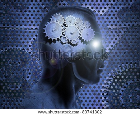 Image of gears inside of a man's head with a rusty metal background. - stock photo