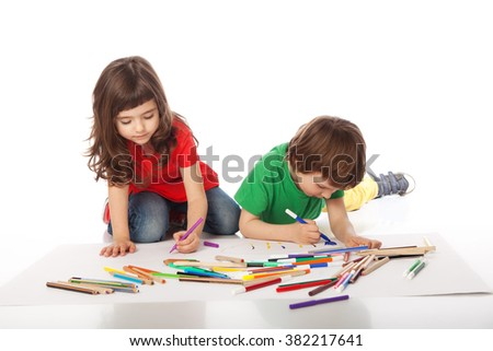 Image of girl and boy doodling, on white background