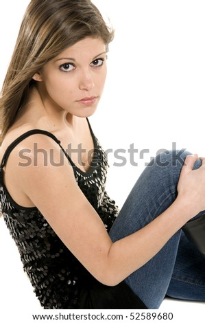 Image of girl in sequined top - stock photo