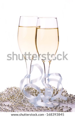 Image of glasses of champagne with decoration - stock photo