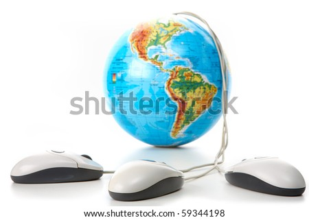 Image of globe with three computer mice on white background - stock photo