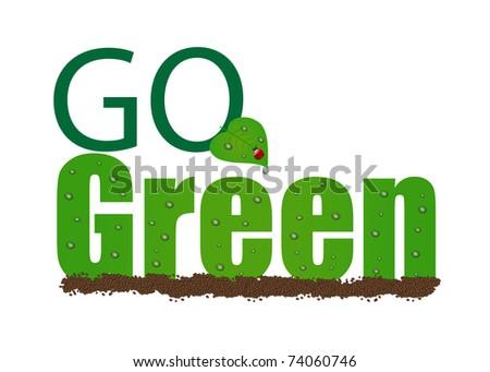 "Image of ""Go Green"" illustration isolated on a white background. - stock photo"