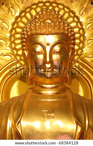 Image of golden Buddha in Chinese temple