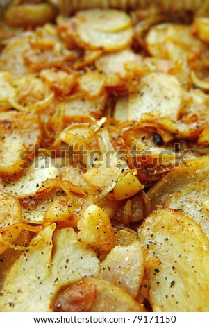 image of golden fried potatoes as background . shallow dof - stock photo