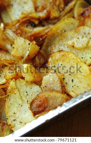 image of golden fried potatoes as background.shallow dof - stock photo