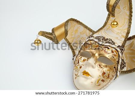 Image of golden Venetian mask  - stock photo