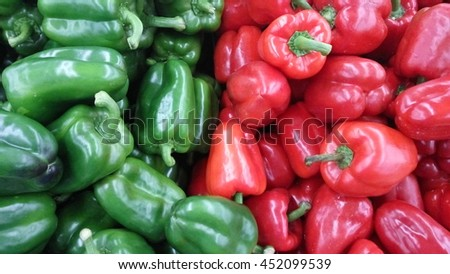 Image of  green and red capsicum  - stock photo
