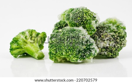 Image of green frozen broccoli isolated close up - stock photo