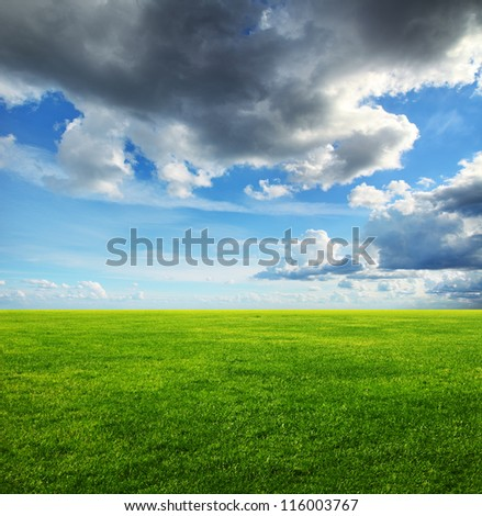 Image of green grass field and heavy clouds in the sky