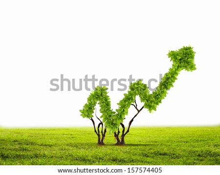 Image of green plant shaped like graph - stock photo