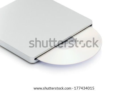 Image of grey external cd dvd burner reader isolated on white - stock photo