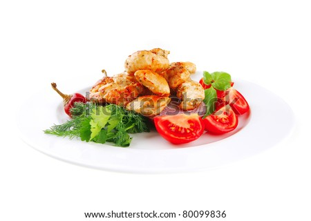 image of grilled chicken meat on white plate - stock photo