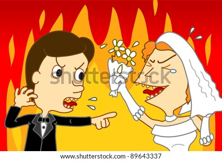 Image of groom and bride who is fighting with anger - stock photo