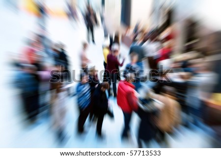 Image of group of people with zoom effect - stock photo