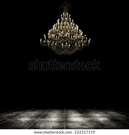 Image of grunge dark room interior with chandelier. Background - stock photo