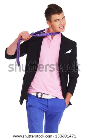 Image of guy who is fooling around with tie