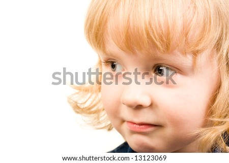Image of half-face of young girl on a white background - stock photo