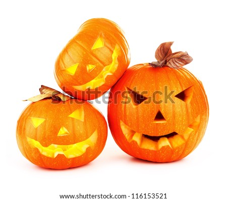 Image of halloween holiday background, three orange carved pumpkin isolated on white background, traditional vegetables decoration, scary gourd face, jack-o-lantern