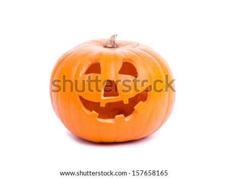 Image of halloween pumpkin isolated on white - stock photo