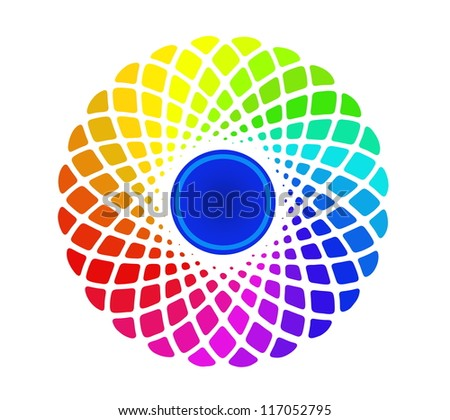 Image of hand drawing and digital colorful circle, rainbow background with depth illusion - stock photo