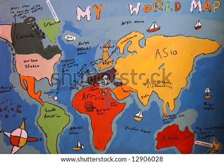 image of hand drawn map - stock photo