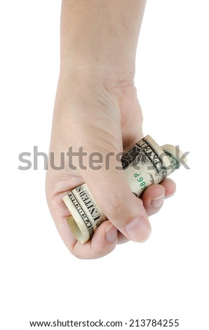 Image of hand hold one dollar on white background
