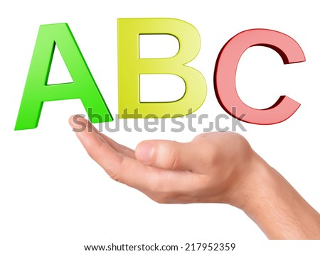 image of hand holding letters ABC symbol. school concept on white Background - stock photo