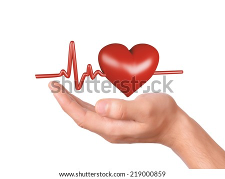 image of hand holding red heart. healthcare and medicine concept on white background
