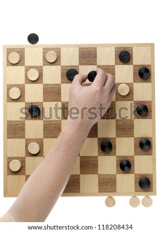 Image of hand moving the checker piece against white background