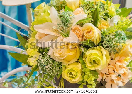 image of handmade mixed colorful flower for background usage. - stock photo