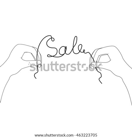 image of hands with the inscription sale