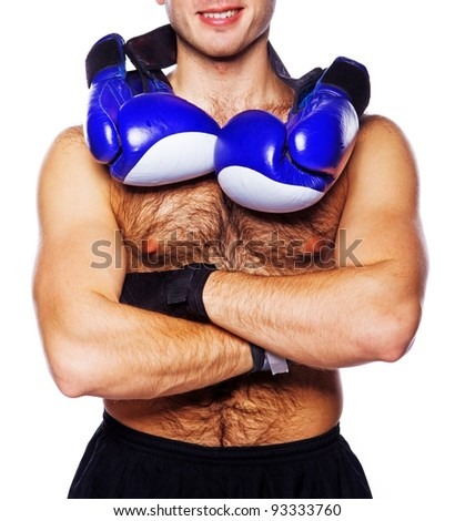 Image of handsome boxer posing, isolated on white - stock photo
