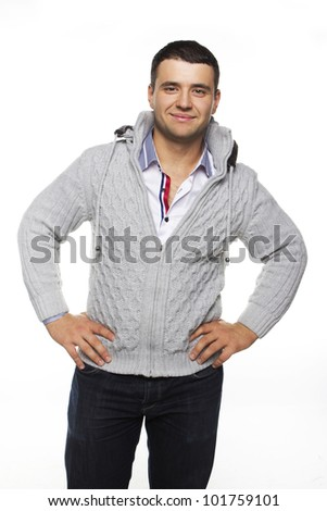 Image of handsome man posing in studio