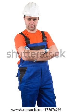 Image of handsome workman isolated on white - stock photo