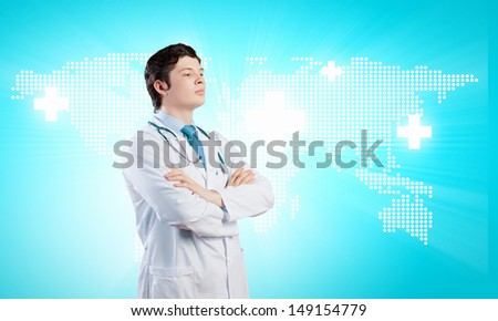 Image of happy confident doctor in uniform against blue background - stock photo