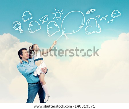 Image of happy father holding on hands daughter. Collage - stock photo