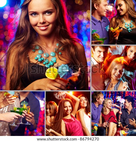 Image of happy friends spending time in night club - stock photo