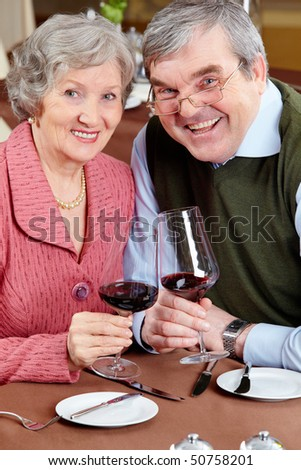 Image of happy senior couple holding wine glasses and looking at camera