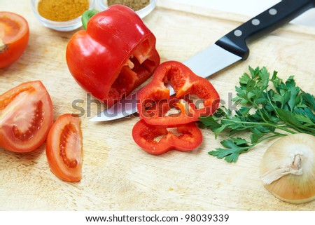 Image of healthy ingredients for fresh salad on cut board - stock photo