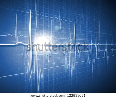 Image of heart beat picture on a colour background - stock photo