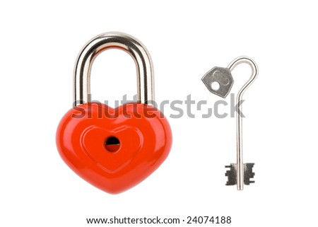 Image of heart-shaped padlock with key near by - stock photo
