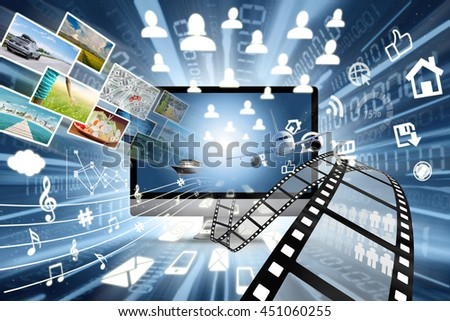 Image of high speed of internet connection in multimedia sharing concept with many objects coming out from monitor - stock photo
