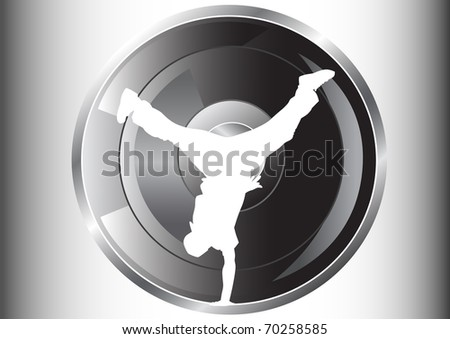 image of hip hop dancer. Silhouette on background of musical instruments - stock photo