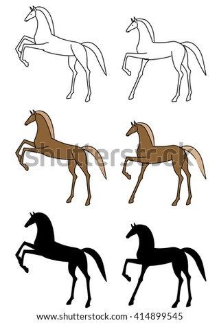 Image of horse illustration, line art and silhouette set