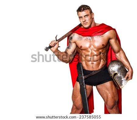 Image of huge warrior in red mantle - stock photo