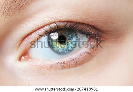 image of human eye, blue and green iris - stock photo