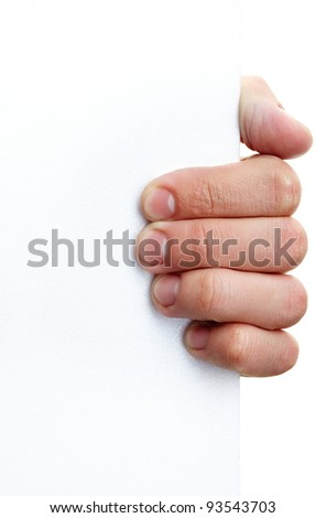 Image of human hand holding empty poster in isolation - stock photo