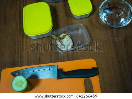 Image of ingredients for sushi and rolls, preparation of food